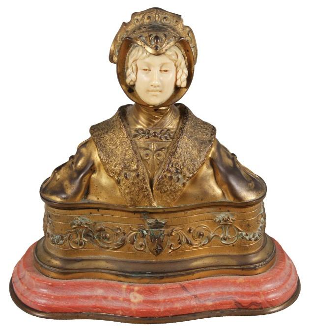 """RENÉ PAUL MARQUET (FRANÇA, 1875-1935) - """"Busto de Dama Vitoriana"""", porta jóias em bronze pa   Relação de algumas peças que estarão em exposição  TODASBRONZECRISTALDIVERSOSIMAGEMLIVROLUSTREMARFIMMETALMÓVELPORCELANAPRATAQUADROTAPETE Passe o mouse sobre a foto para ver a descrição.     Extraordinário casal de cães de fó esculpidos em marmore branco. Alt.72cm. China, sec. XVIII/XIX. Re  [fechar]    Porta anotações e documentos para escrivaninha em couro pirogravado, tendo ao centro o Brasão do…"""