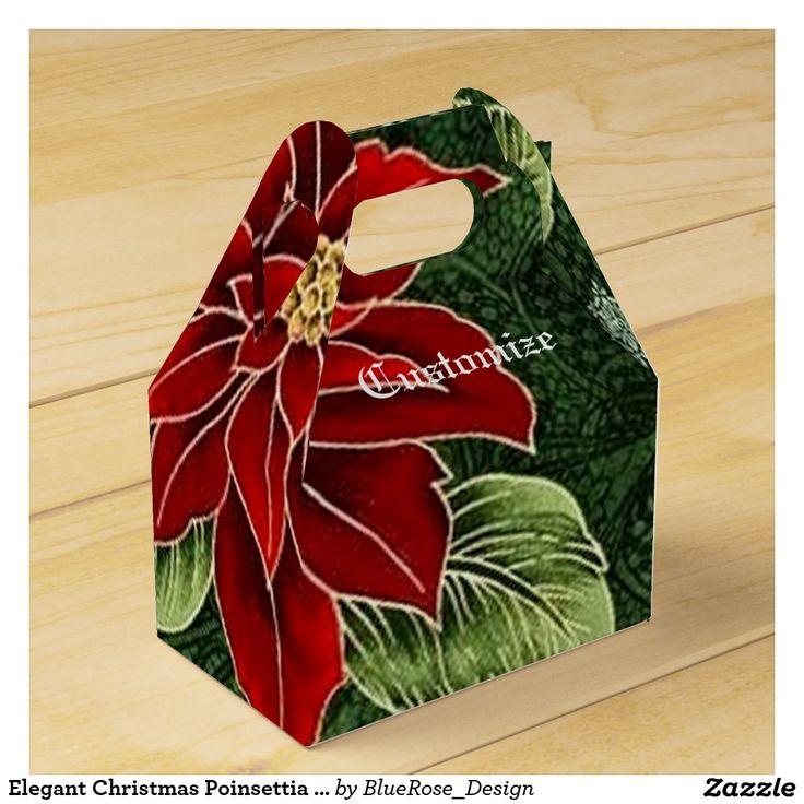Elegant Christmas Poinsettia Gable Favor Box