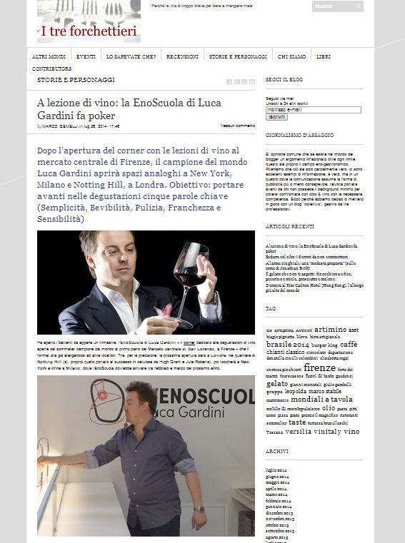 Su I Tre Forchettieri Luca Gardini, la sua Enoscuola e i suoi progetti