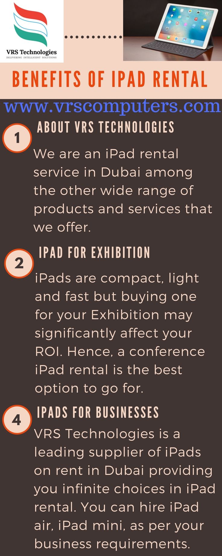 VRS Technologies encourage you to try your hand with the latest iPads on #Rent and find out what you can unfold with the #Apple iPads.call us:  +971-55-5182748.  #ipadRent #iPadRental #iPadHire #dubai #appleipad #HIre #lease #vrstechnologies