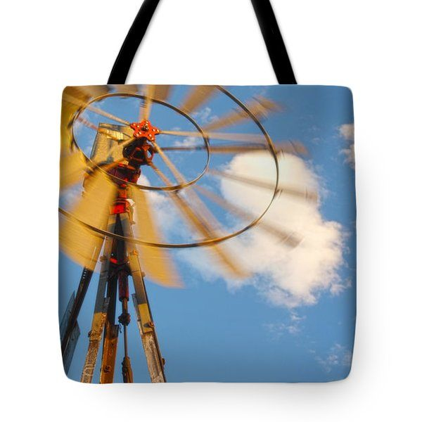 All Tote Bags - Red Wind Wyoming Windmill Tote Bag by Amanda Smith