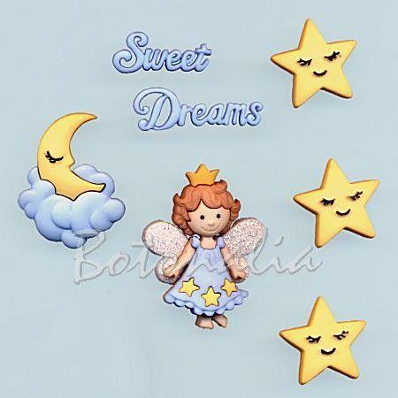 Dress-it-Up - Sweet Dreams - Botones decorativos con forma de luna, estrellas y angelito o hada de los sueños.