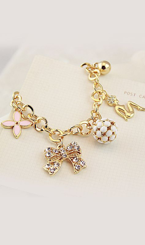 bowknot and ball pendant  bracelet 38405