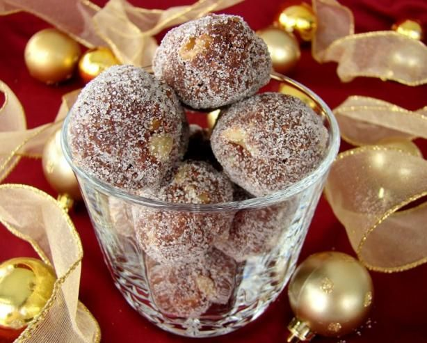 "Christmas Rum Balls: ""These make a nice addition to the baked goodies that you give as gifts. Make these about a week before you want to serve them as they mellow and the sharp strong alcohol taste blends in more with the other ingredients."" -Bergy"