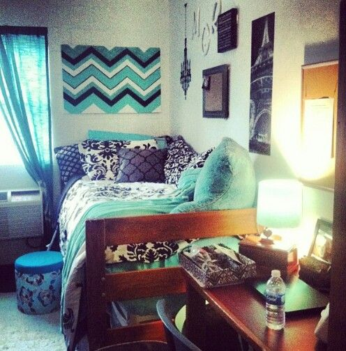 Love the gray and turquoise color scheme! #dormideas #smallspacestyle http://www.thepageantplanet.com