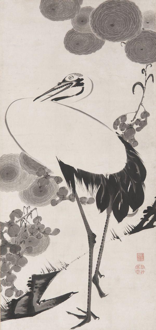 Jakuchu Ito 伊藤若冲 (1716-1800) **Cranes - Tsuru