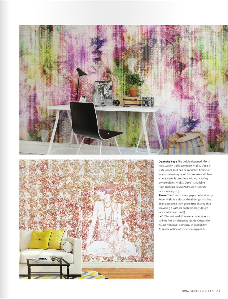 """Our wallpaper """"Futuristic Flowers"""" featured in Home & Livestyle Magazine #46."""