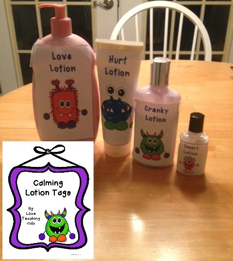 Calming Lotion- Use this to help children when they are feeling frustrated or distrested. Download the monster tags for free.