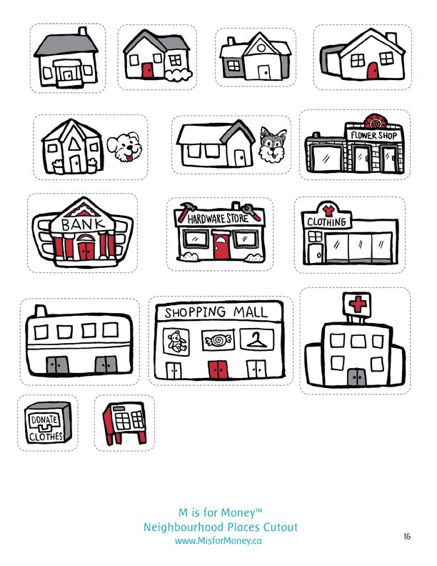 Neighbourhood Places Cutout Game. Visit www.MisforMoney.ca for free downloads and to purchase books, ebooks, fun stuff and a catchy jingle! #misformoney
