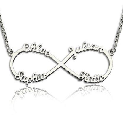 Infinity Name Necklace with 4 Names sterling silver