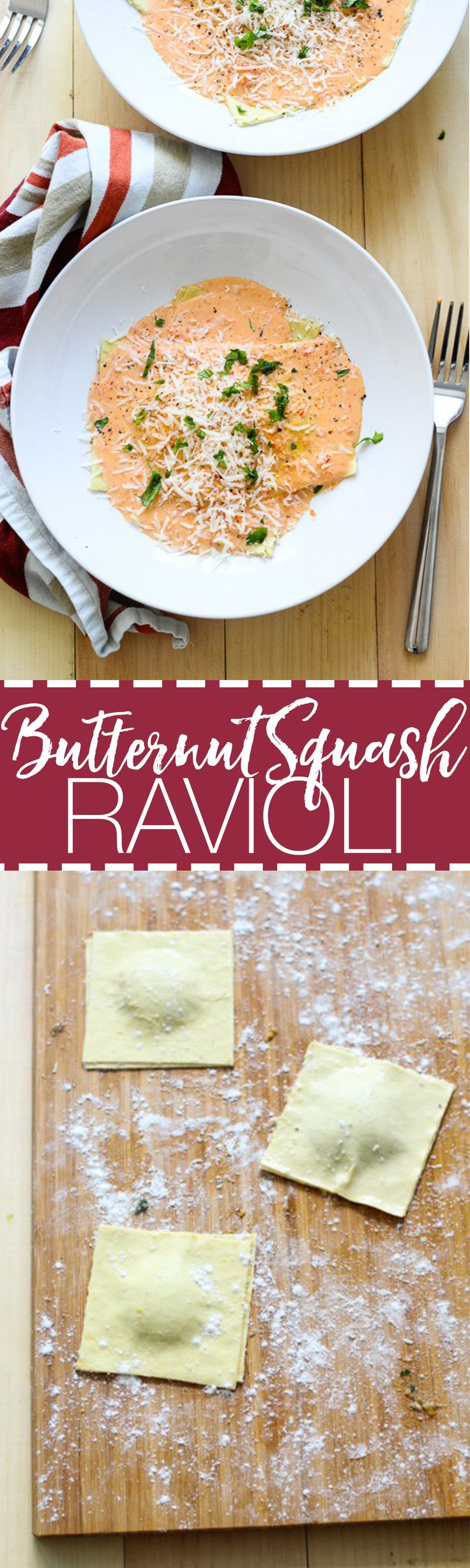 This Homemade Butternut Squash Ravioli is made with lasagne sheets in a Red Pepper Cream Sauce