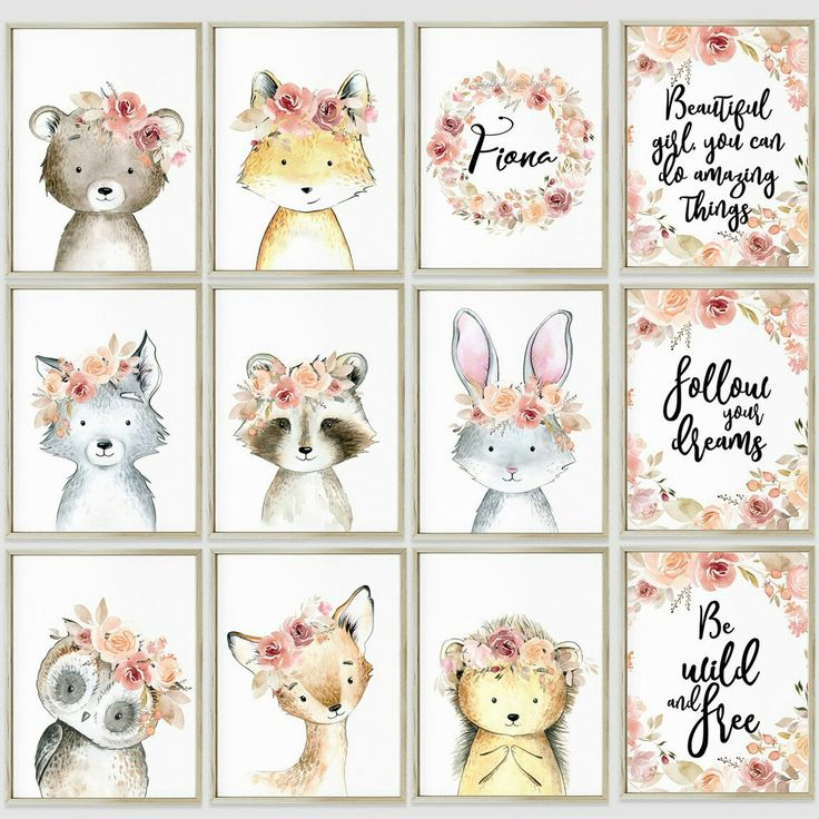 Floral Woodland animals nursery Boho girl art print Giclee animal creatures Forest friends Little girl bedroom wall decor Enchanted forest