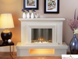Flamerite Fires Milan Electric Fireplace Suite has a stunning contemporary style. This freestanding electric fireplace suite combines an attractive surround and hearth plinth in a neutral Portland colour with a Radia Flame curved electric fire Flame intensity and heat output settings on the Flamerite Milan are controlled by a hand-held remote control. This electric fireplace suite incorporatesthe very latest Flamerite LED technology