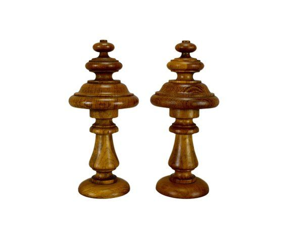 Antique French Pair of Wood Newel Post Finial End Furniture Embellishment Pediment Bed Stair Clock DIY Project