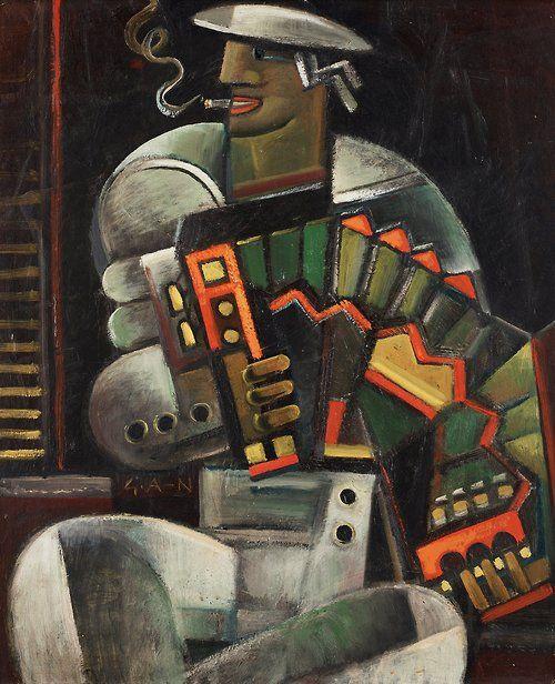 Gösta Adrian-Nilsson (Swedish, 1884-1965), Sailor with accordion, 1922-23. Panel, 55 x 46cm.