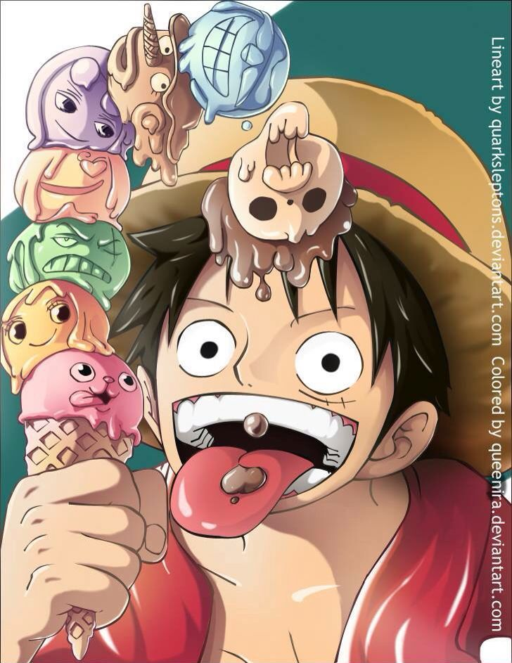 One Piece Luffy with strawhat pirates ice cream ;)