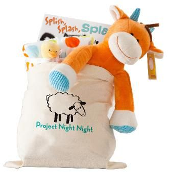Project Night Night provides thousands of homeless children with a night night package containing a book, stuffed animal and blanket.