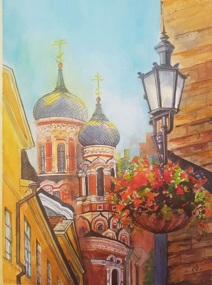 """Decor Street 1"",Watercolor by Gabriela Calinoiu,Romanian painter. www.picturipeisaje.wordpress.com"