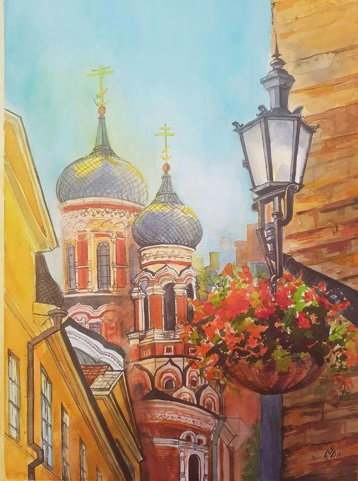 """Decor Street 1"",Watercolor by Gabriela Calinoiu,Romanian painter. www.picturipeisaje.wordpress.com"
