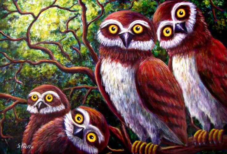 Скачать обои дерево, птицы, совы, арт, ветви, лес, раздел живопись в разрешении 2513x1708