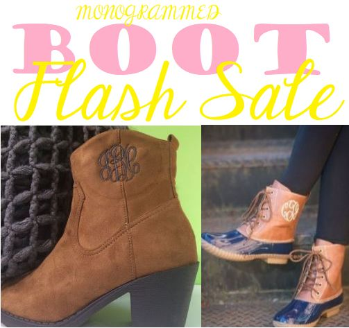 Monogram Boots are on SALE!  Monogram duck boots, monogram booties, and monogram tall boots are all on sale! Visit to see you savings!