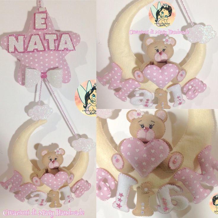 Creazioni di Mary Handmade su Bebuù: Fiocco Nascita Luna tenero orsetto