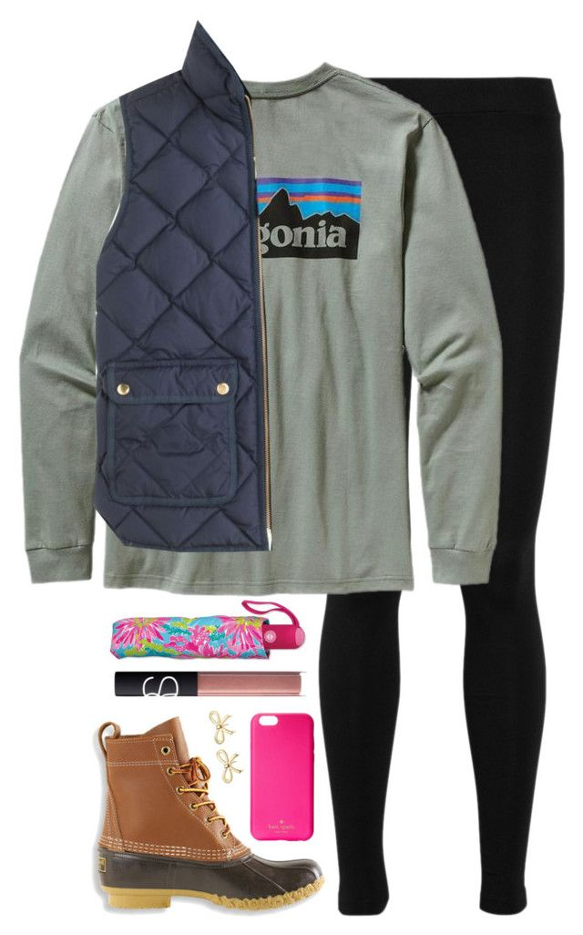 """""""Rainy Day & Tag!!"""" by elizabethjamesw ❤ liked on Polyvore featuring Vince, Patagonia, J.Crew, L.L.Bean, Lilly Pulitzer, NARS Cosmetics, Kate Spade, Tiffany & Co., women's clothing and women's fashion"""