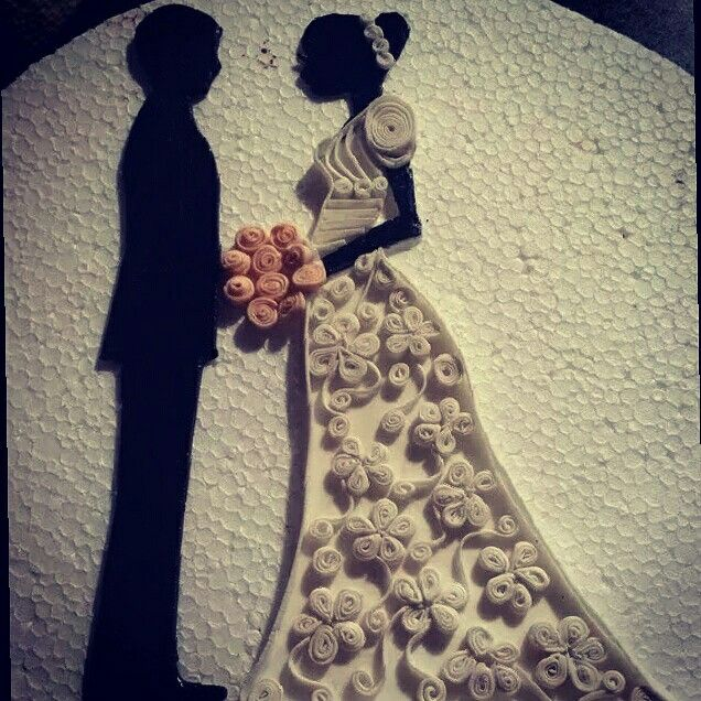 Sugar quilling bride and groom topper