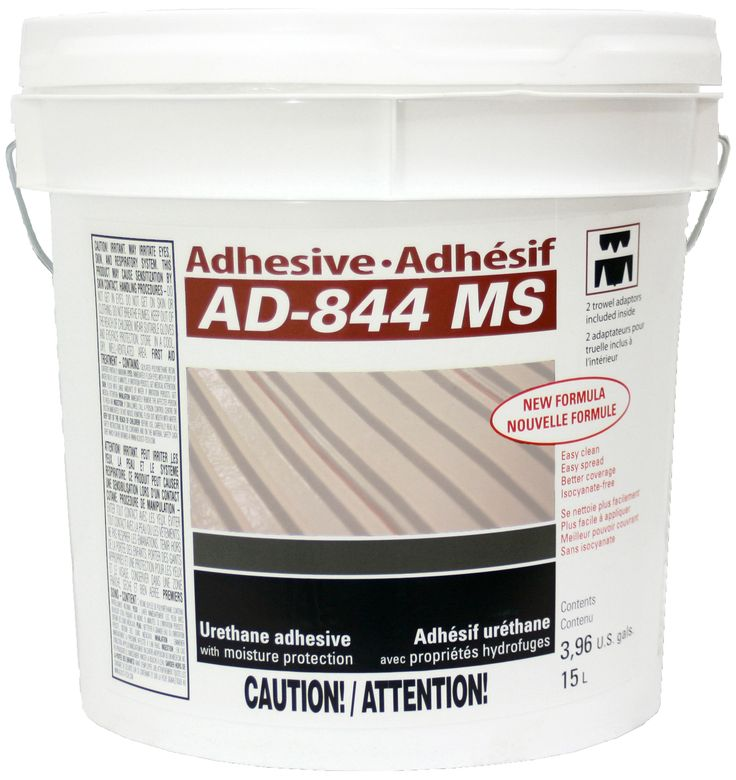 FREE SHIPPING! Adhesive AD-844 MS (4 gal.). This urethane-based adhesive is designed for gluing pure solid hardwood, exotic wood, engineered wood and bamboo.  In addition to being waterproof and versatile, it is practically odorless and has a low VOC content.
