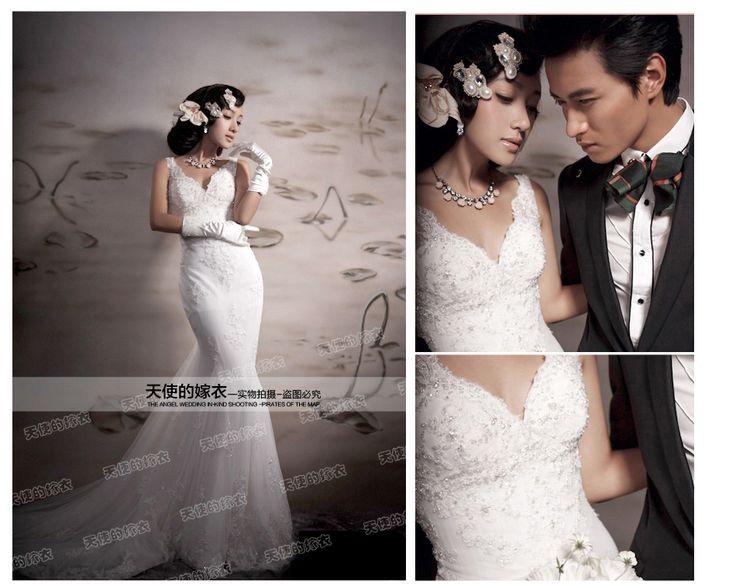Corea del Real Corea princesa francesa del cordón V de cola de pescado novia vestido 5161 de boda profundo $89 usd