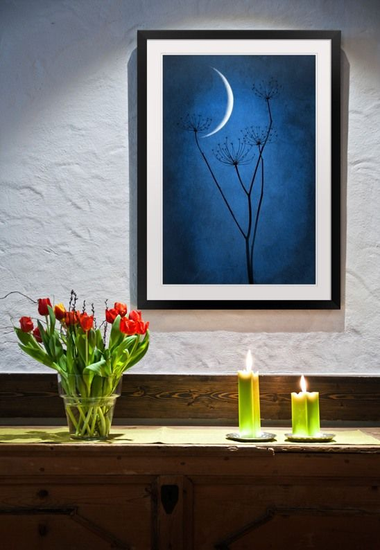 Beautiful night time framed #artwork in blue! I LOVE the simplicity of this piece!