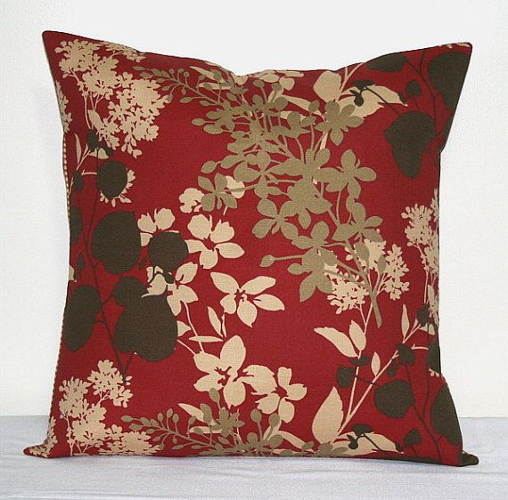 Decorative Pillows For Red Sofa : Red Brown and Tan 18 inch Decorative Pillows Accent Pillows Throw Pillow Cushion Covers ...