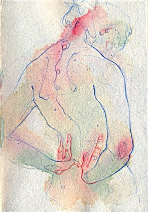 Adara Sanchez Anguiano nude female posterior back mixed media painting