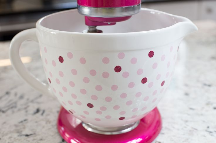 KitchenAid® Raspberry Ice Artisan Mixer with Polka Dot Bowl - created to help promote awareness and help fund the fight against breast cancer.