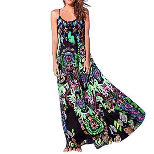 48f073b17b075 OHQ Robe à Bretelles Imprimé BohèMe pour Femme Vert Bohemian Womens Floral  Print Sling Jupes Femmes