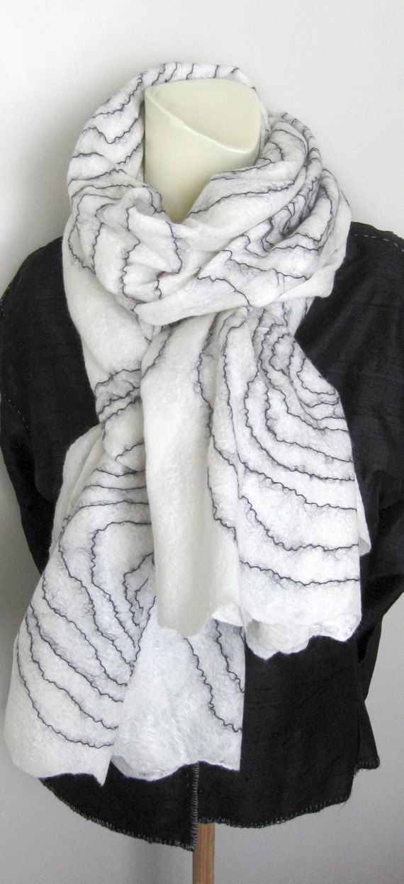 Felted Scarf White Black Wool Silk Super Soft Cobweb Hand Made