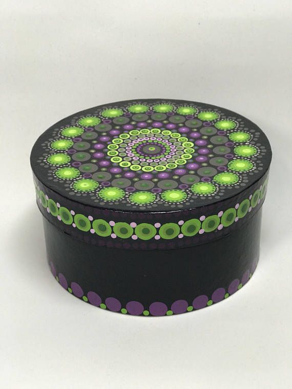 Original Mandala Painting on Box, Dotilism, Dot Painting, Aboriginal Art, Henna Meditation Art, Healing/ Calming, Hand Painted with acrylic paint on Trinket box, sprayed multiple times with high gloss sealer to protect paint and aging. Colors are: Black box, purples greens, silver