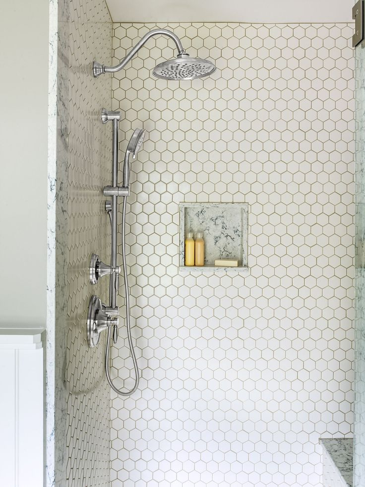 Pearly white hexagonal tiles  Inspired by the rough hewn wood found throughout the historic home  porcelain plank floors. 1000  ideas about White Hexagonal Tile on Pinterest   Hexagon