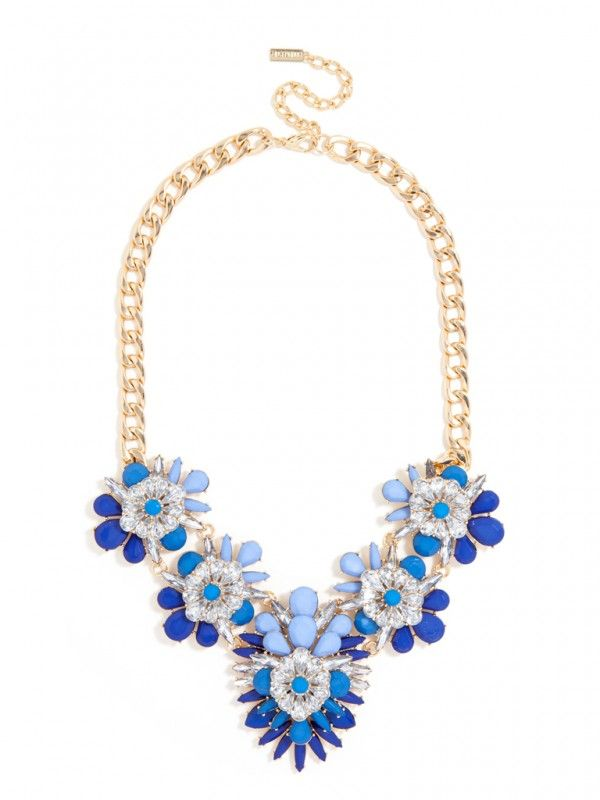 Navy Blossom Bib Necklace ,cheap fashion bib necklace statement necklace women…