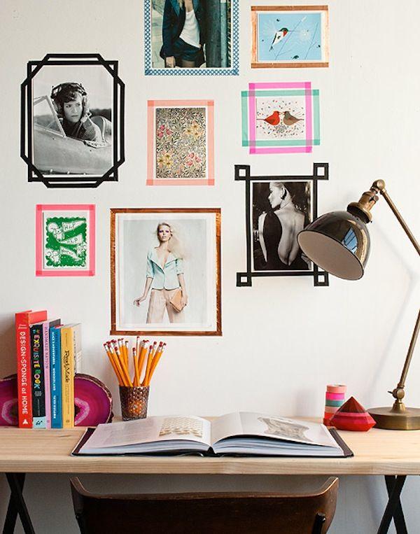 Washi tape wall frames. Great idea.