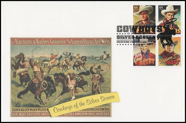 Block Includes : 4446 Roy Rogers / 4447 Tom Mix / 4448 William S. Hart and 4449 Gene Autry. Envelope measures 6 x 9 and have description of the stamp subject printed on the back. IS IN MINT, UNADDRESSED CONDITION.