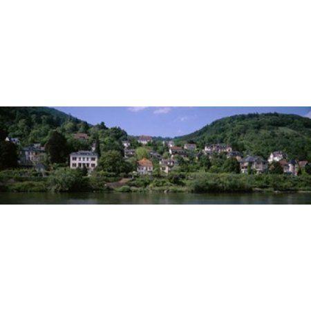 Houses on a hillside Neckar River Heidelberg Baden-Wurttemberg Germany Canvas Art - Panoramic Images (18 x 6)