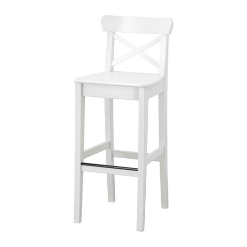 "$69 INGOLF Bar stool with backrest - 29 1/8 "" - IKEA  I maybe like these better than the Home Depot ones? Having seen them in person probably biases me, but in a good way, I think."