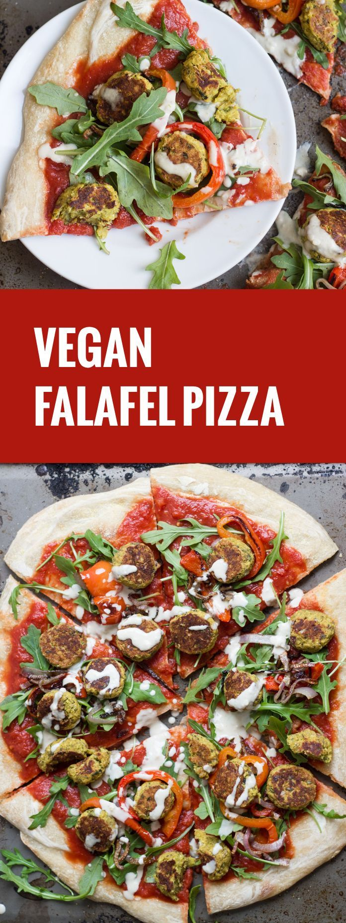 This vegan falafel pizza is made with spicy harissa-spiked tomato sauce, roasty-toasty onions and bell peppers, and creamy tahini sauce.