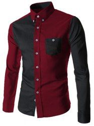 Color Block Spliced Turn-Down Collar Long Sleeve Pocket Button-Down Shirt For Men (RED WITH BLACK,XL) | Sammydress.com Mobile