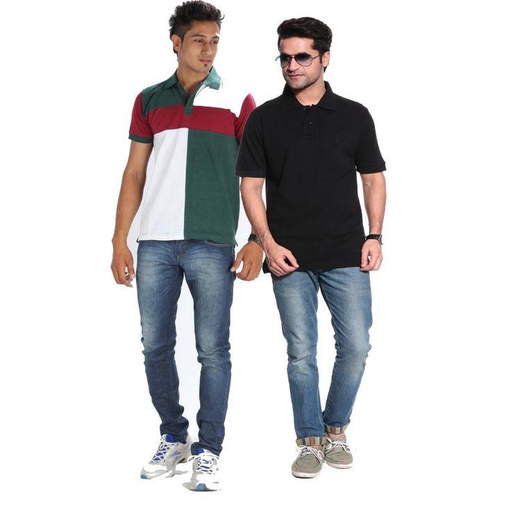 Posh 7 Green & Black combo of 2 Polo T Shirts http://goo.gl/z7zCdO