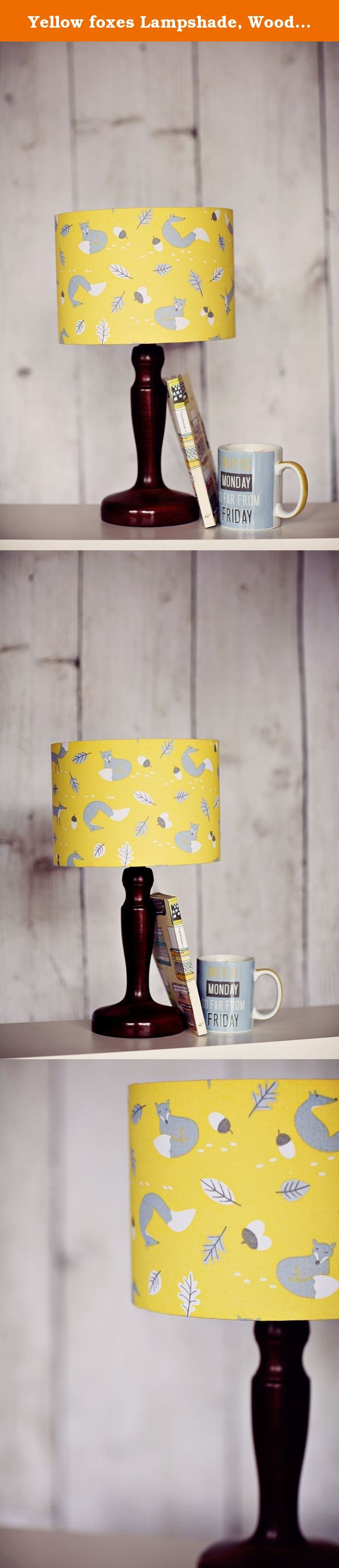 Yellow foxes Lampshade, Woodland lampshade, Fox lamp, Animal lamp shade. This lampshade has a contemporary feel with a beautiful yellow fabric featuring grey foxes. The shade will also look complimentary with the other shades in the range. This lampshade would be a wonderful addition to any room, giving the room a feeling of spring and giving off a beautiful glow when lit. If you would like a swatch of the fabric please send me a message. All of the lampshades are lovingly handmade in my...