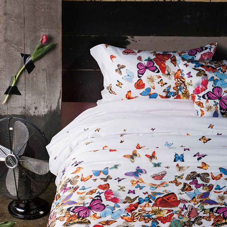 >> Click to Buy << CHAUSUB Butterfly Printed Bedding Set 4PC Satin Egyptian Cotton Duvet Cover Bed Cover Flat Sheets Pillowcase King Queen Size #Affiliate