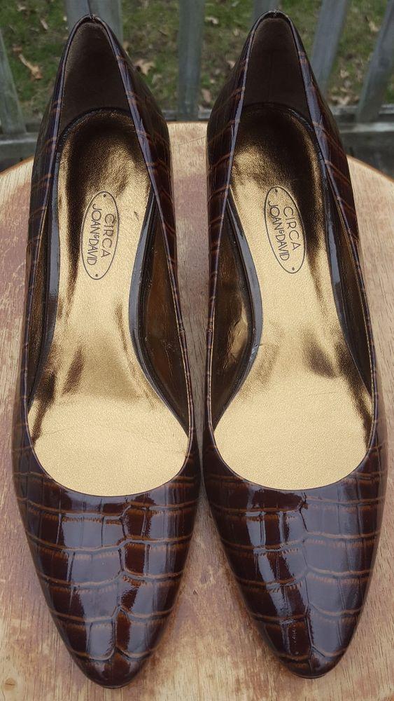 f01ec0f86833 Circa Joan   David Patent Brown Crocodile 9 M Leather Sole Heels Pumps Shoes  EUC  JoanDavid  Classics