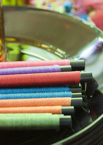 wrapped chopsticks add a global touch